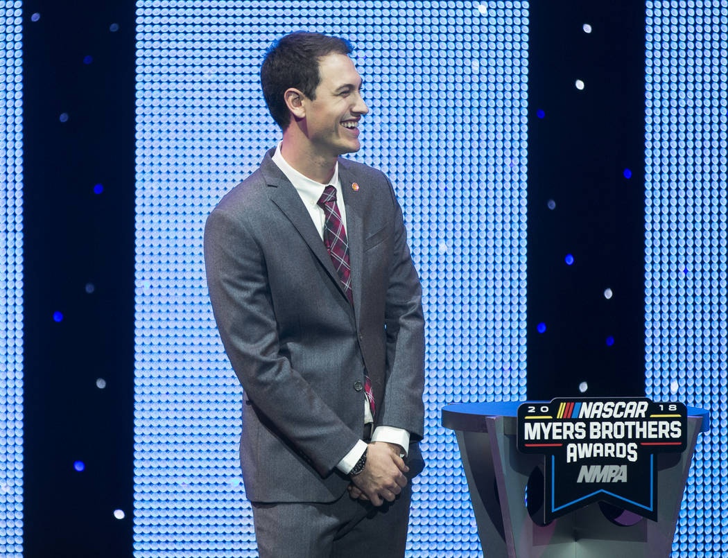 Joey Logano shares a laugh with the audience after receiving the Diamond Performance Award during the NASCAR NMPA Myers Brothers Awards at Encore Theater on Wednesday, Nov. 28, 2018, at Wynn Las V ...