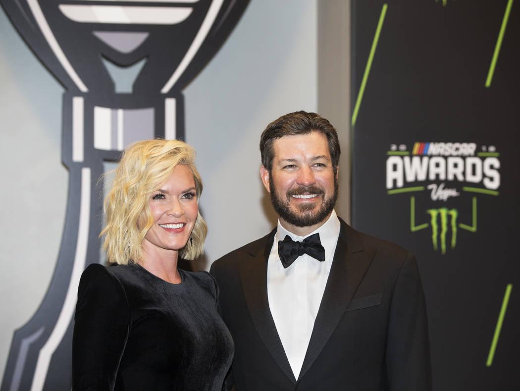 Martin Truex Jr., right, and wife Sherry Pollex take photos during the Fan Red Carpet on Thursday, Nov. 29, 2018, at Wynn Las Vegas, in Las Vegas. Benjamin Hager Las Vegas Review-Journal