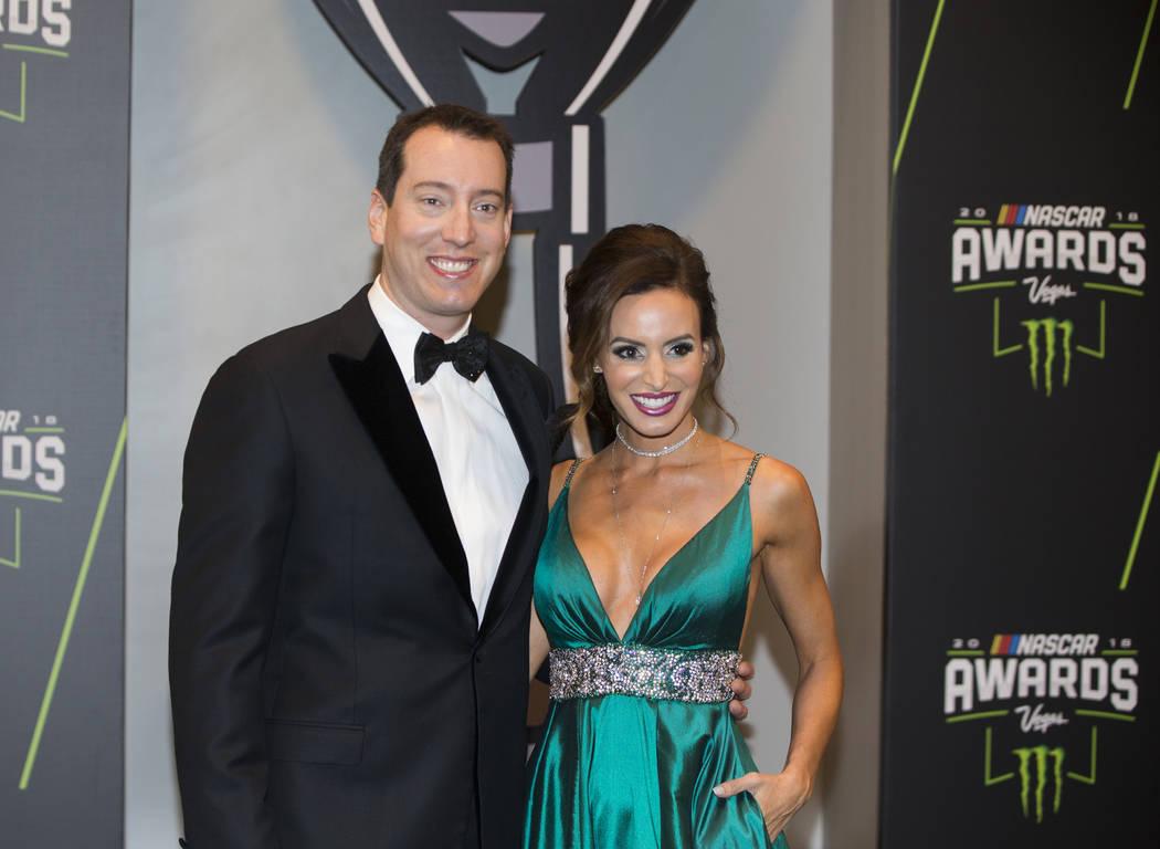 Kyle and Samantha Busch take photos during the Fan Red Carpet on Thursday, Nov. 29, 2018, at Wynn Las Vegas, in Las Vegas. Benjamin Hager Las Vegas Review-Journal