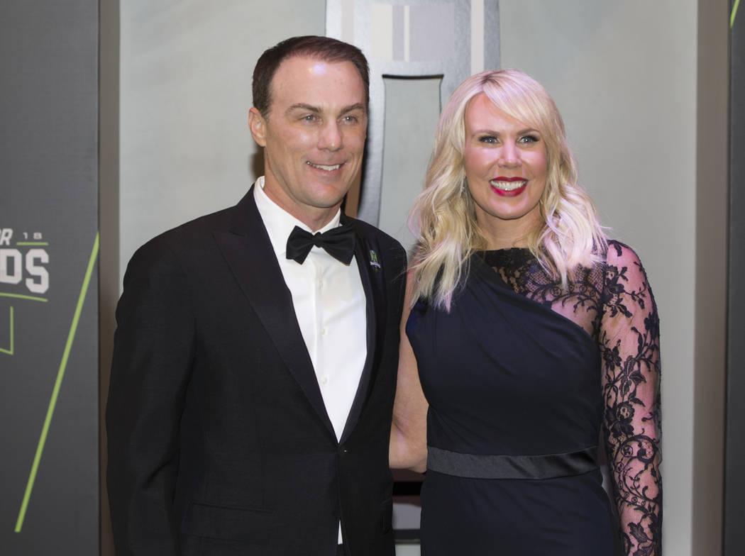 Kevin and DeLana Harvick take photos during the Fan Red Carpet on Thursday, Nov. 29, 2018, at Wynn Las Vegas, in Las Vegas. Benjamin Hager Las Vegas Review-Journal