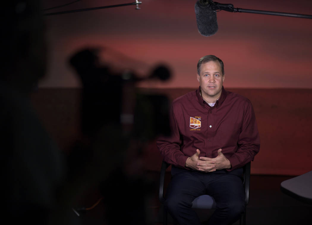 NASA Administrator Jim Bridenstine talks to multiple media outlets about Mars InSight, Monday, Nov. 26, 2018, at NASA's Jet Propulsion Laboratory in Pasadena, Calif. The NASA spacecraft's six-mont ...