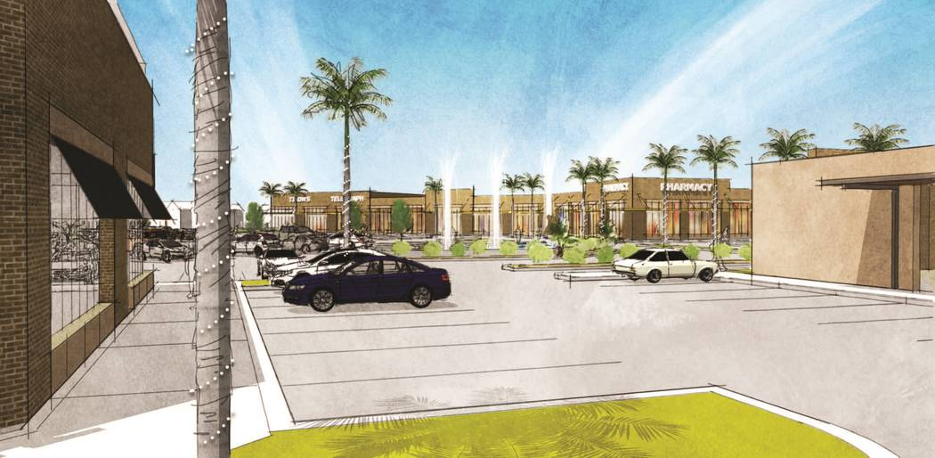 Stable Development plans to build a 300,000-square-foot mixed-use project, a rendering of which is seen here, on St. Rose Parkway near Spencer Street in Henderson. (MassMedia)