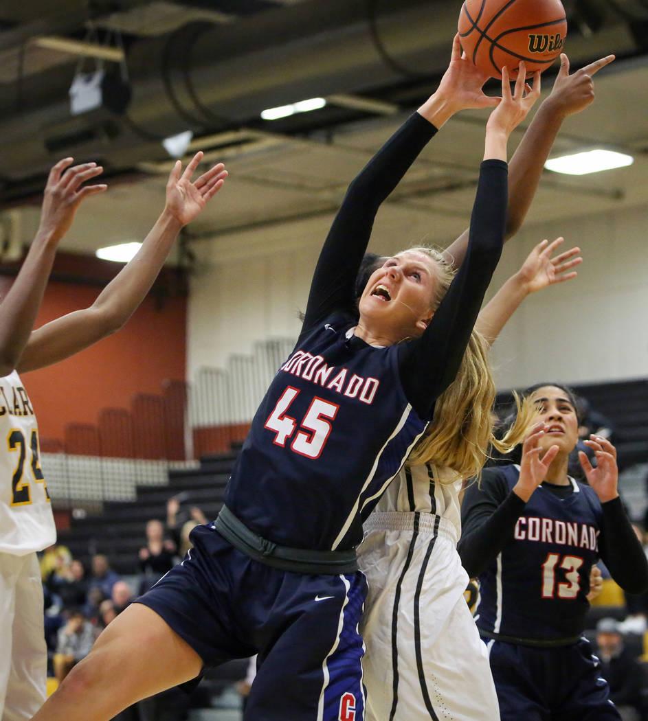 Coronado's Haley Morton (45) reaches for the ball during a basketball game at Clark High School in Las Vegas, Monday, Nov. 26, 2018. Caroline Brehman/Las Vegas Review-Journal
