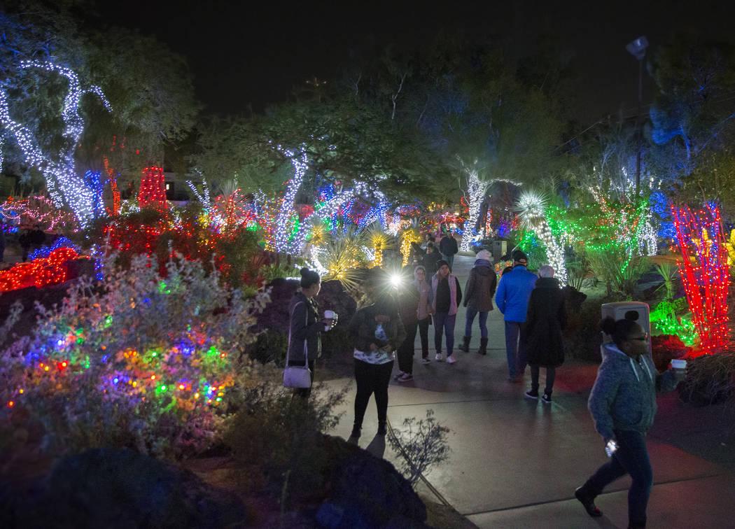 Holiday goers enjoy the lights at Ethel M Chocolates Botanical Cactus Garden on Monday, November 12, 2018, in Henderson. Benjamin Hager Las Vegas Review-Journal