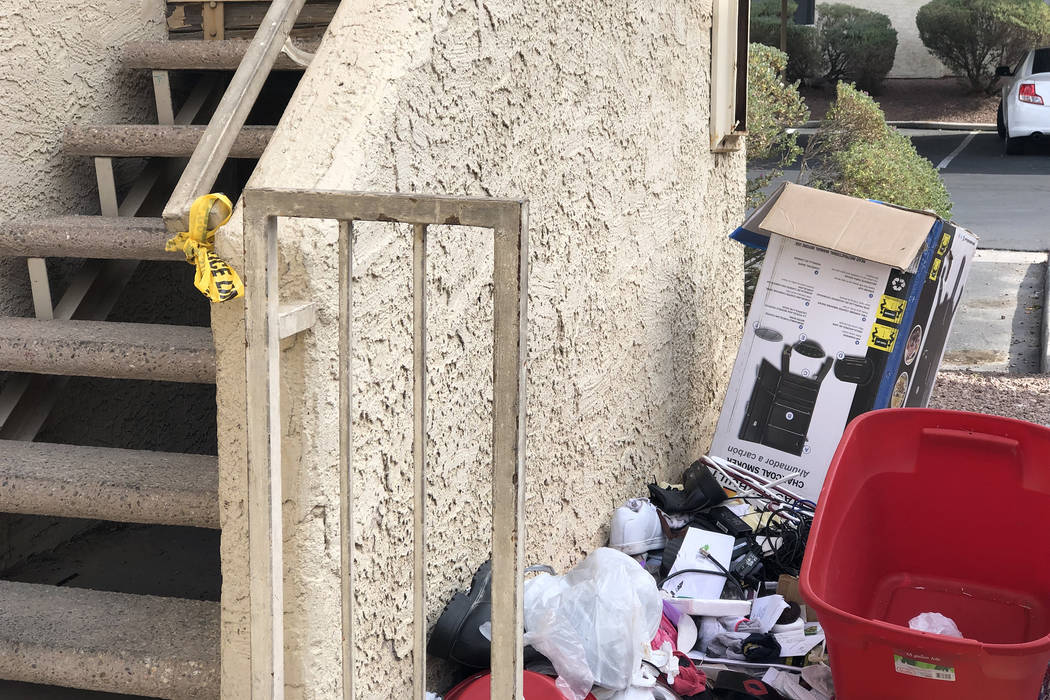 Remnants of a homicide investigation can be seen on Tuesday, Nov. 27, 2018, on the 2900 block of Juniper Hills Boulevard, where a homeless woman was sexually assaulted and fatally strangled three ...