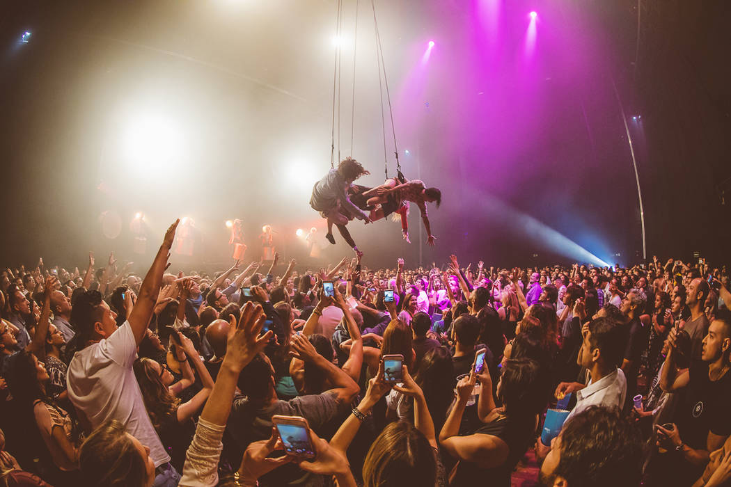 """A scene from the international touring circus production """"Fuerza Bruta,"""" opening a six-month engagement at Excalibur on Feb. 9, 2019. (Mauricio Santana)"""
