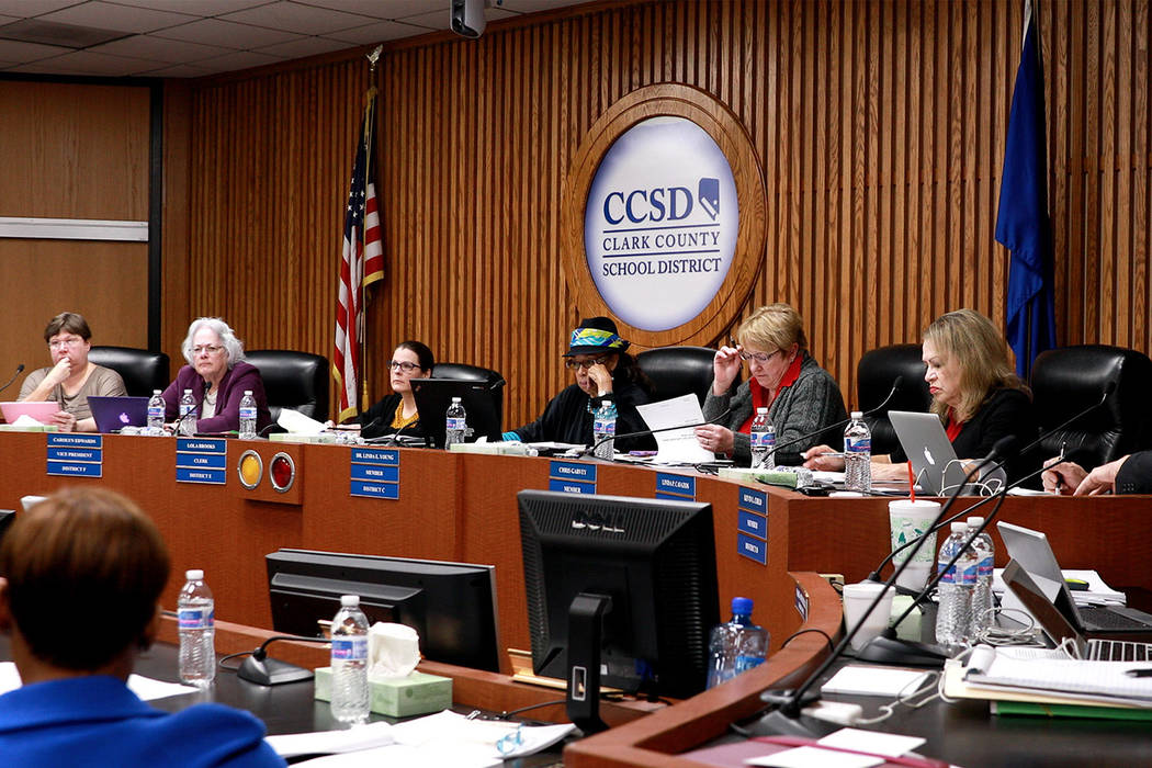 Clark County School Board of Trustees. (Andrea Cornejo/Las Vegas Review-Journal) @DreaCornejo