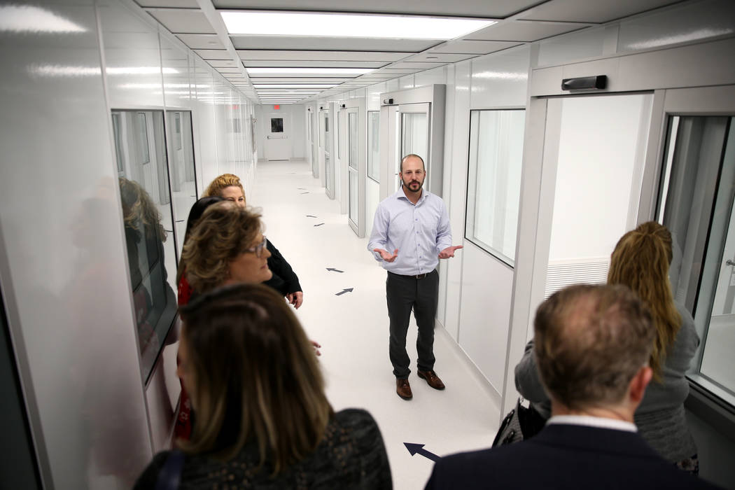 Dean Nistal of Step Change Business Consulting gives a tour during an open house for Origin Biologics at 6635 South Eastern Ave. in Las Vegas, Friday, Nov. 16, 2018. K.M. Cannon Las Vegas Review-J ...