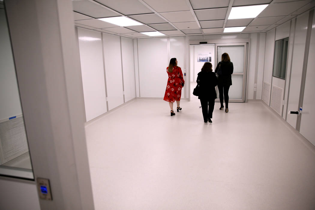 Guests take a tour during an open house for Origin Biologics at 6635 S. Eastern Ave. in Las Vegas, Friday, Nov. 16, 2018. (K.M. Cannon/Las Vegas Review-Journal) @KMCannonPhoto
