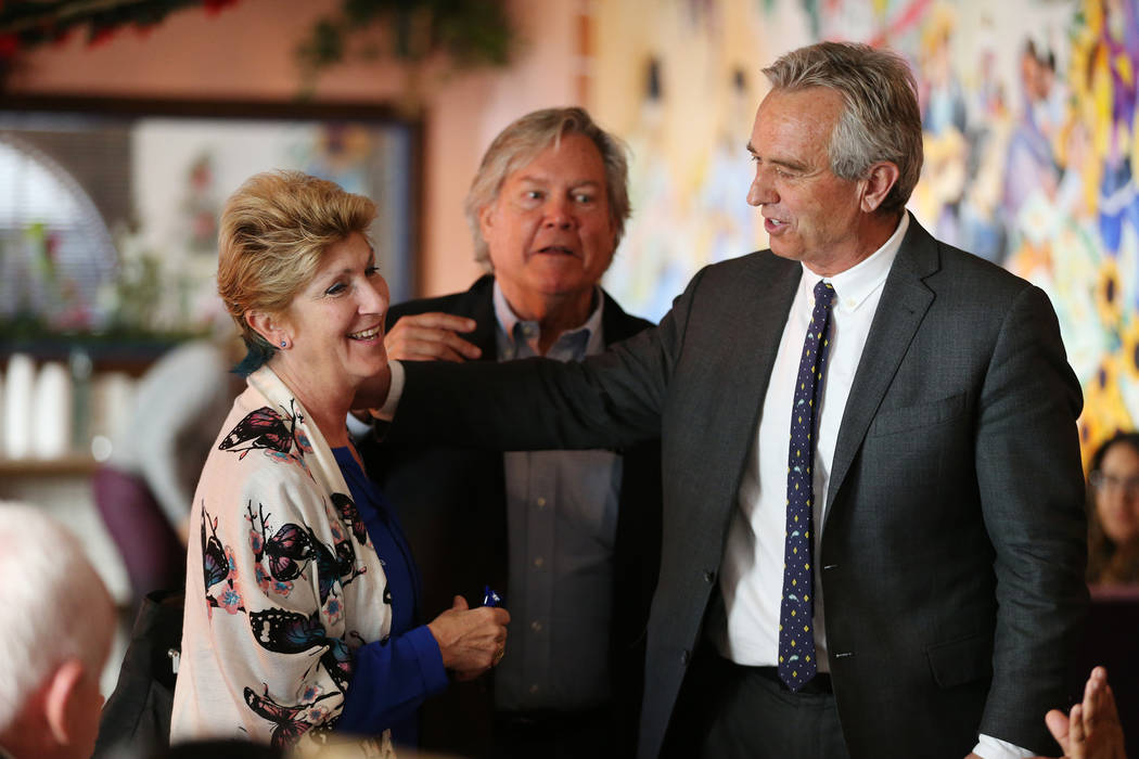 Clark County Commissioner Chris Giunchigliani, from left, Nevada Senator Tick Segerblom, and Bobby Kennedy Jr., Waterkeeper Alliance president, during a kick-off event for the Las Vegas affiliate ...