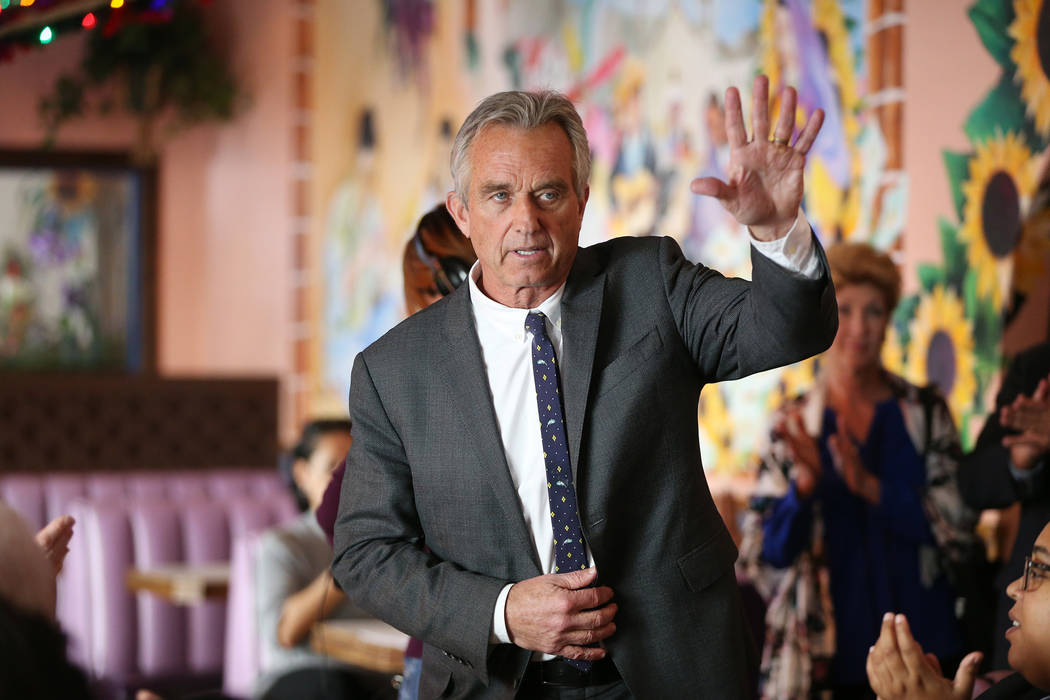 Bobby Kennedy Jr., Waterkeeper Alliance president, raises his hand as he ends his speech during a kick-off event for the Las Vegas affiliate chapter of the Colorado Riverkeeper, at Doña Maria ...