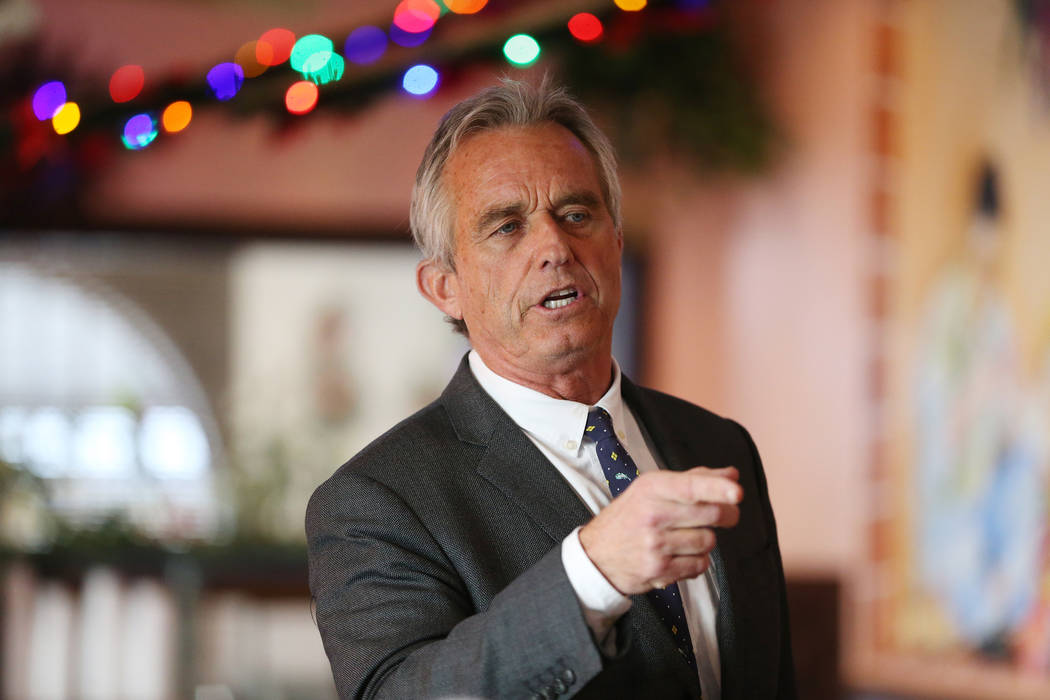 Bobby Kennedy Jr., Waterkeeper Alliance president, speaks during a kick-off event for the Las Vegas affiliate chapter of the Colorado Riverkeeper, at Doña Maria Tamales restaurant in Las Vega ...