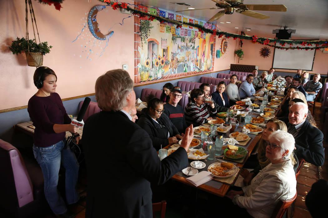 People listen to Nevada Senator Tick Segerblom speak during a kick-off event for the Las Vegas affiliate chapter of the Colorado Riverkeeper, at Doña Maria Tamales restaurant in Las Vegas, Tu ...