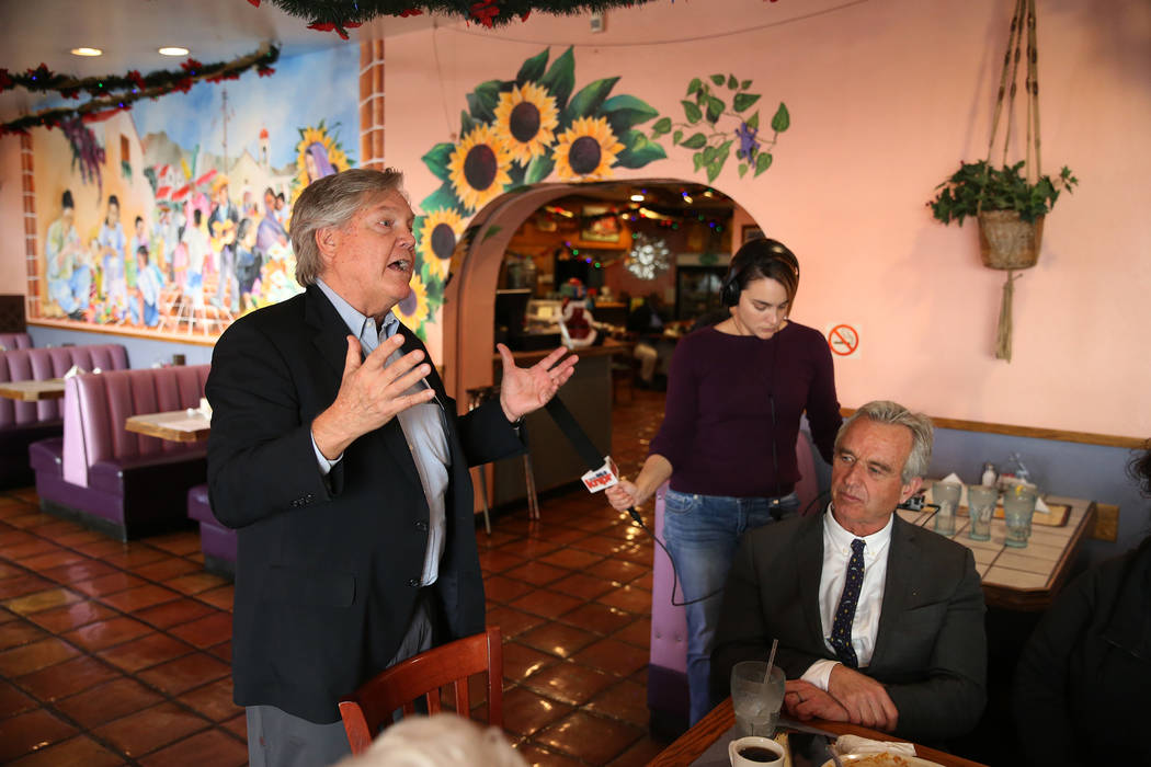 Nevada Senator Tick Segerblom, left, speaks during a kick-off event for the Las Vegas affiliate chapter of the Colorado Riverkeeper, at Doña Maria Tamales restaurant in Las Vegas, Tuesday, No ...