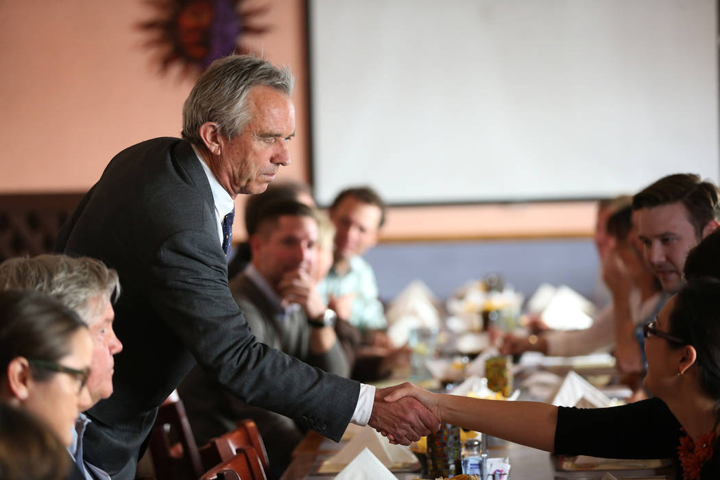 Bobby Kennedy Jr., left, Waterkeeper Alliance president, greets attendees during a kick-off event for the Las Vegas affiliate chapter of the Colorado Riverkeeper, at Doña Maria Tamales restau ...