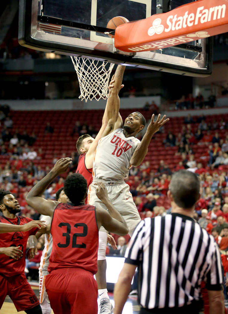 UNLV Rebels forward Shakur Juiston (10) tips in a rebound in the second half of their NCAA basketball game at the Thomas & Mack Center in Las Vegas Friday, Nov. 23, 2018. K.M. Cannon Las Vegas ...