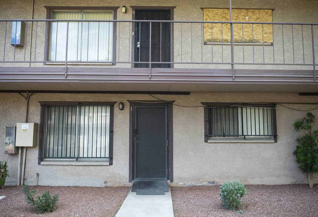 Exterior shot of one of the cheapest homes currently listed for sale in Las Vegas located at 585 S. Royal Crest Circle, Unit 9, on Tuesday, Nov. 27, 2018. Caroline Brehman/Las Vegas Review-Journal