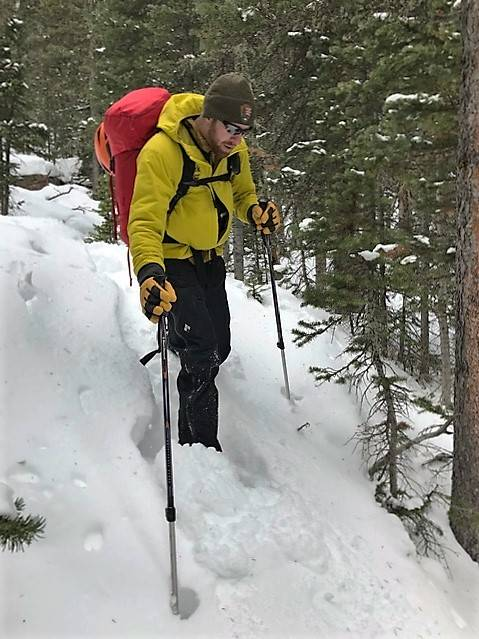 A search team member looking for Micah Tice in lower elevations of the Longs Peak area of Rocky Mountain National Park on Tuesday, November 27, 2018. Tice, a cadet candidate from Las Vegas at the ...