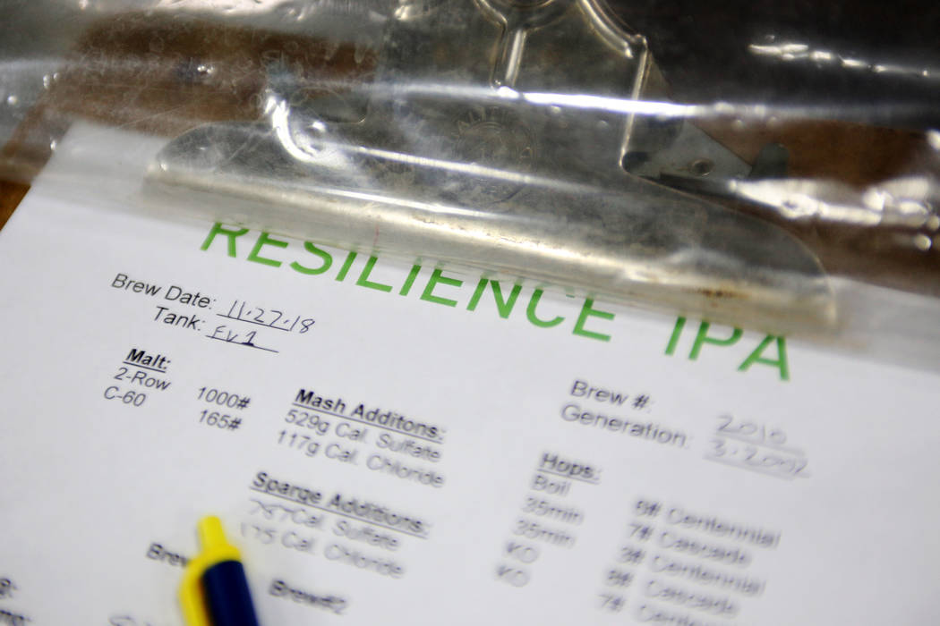 The recipe for Resilience IPA at Tenaya Creek Brewery in Las Vegas on Tuesday, Nov. 27, 2018. Sierra Nevada has asked breweries to join in making the beer, and all proceeds will be donated to Camp ...