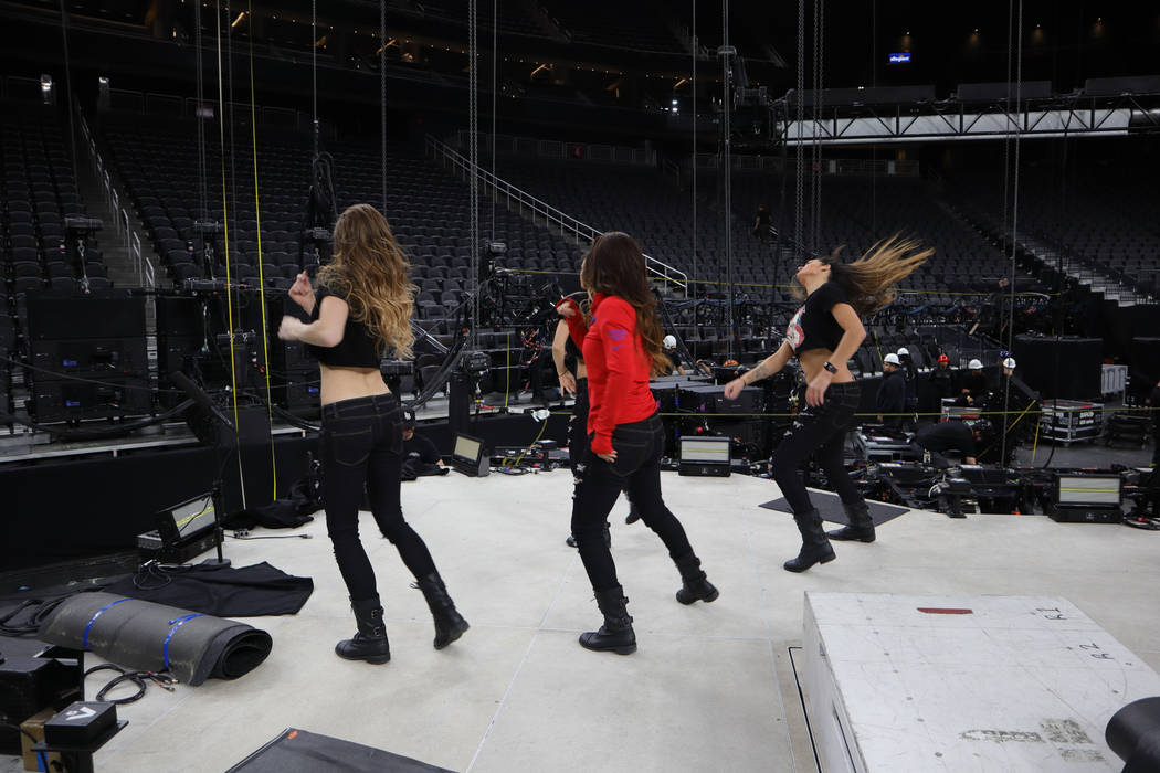"""The cast of """"X Rocks"""" is shown in rehearsal at T-Mobile Arena prior to the opening of the Metallica concert on Monday, Nov. 26, 2018. (Edison Graff)"""