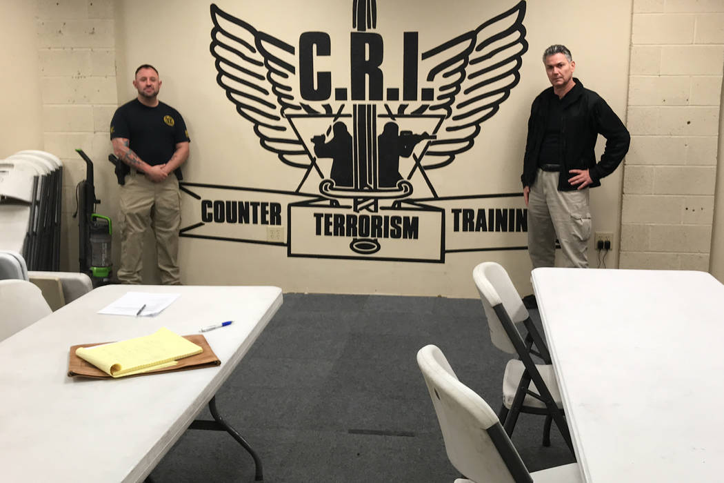 Jeremy Shechtman, left, chief executive officer of CRI Counter Terrorism School, and Doron Benbenisty, founder of the school, at their North Las Vegas headquarters. (Photo by Herb Jaffe)