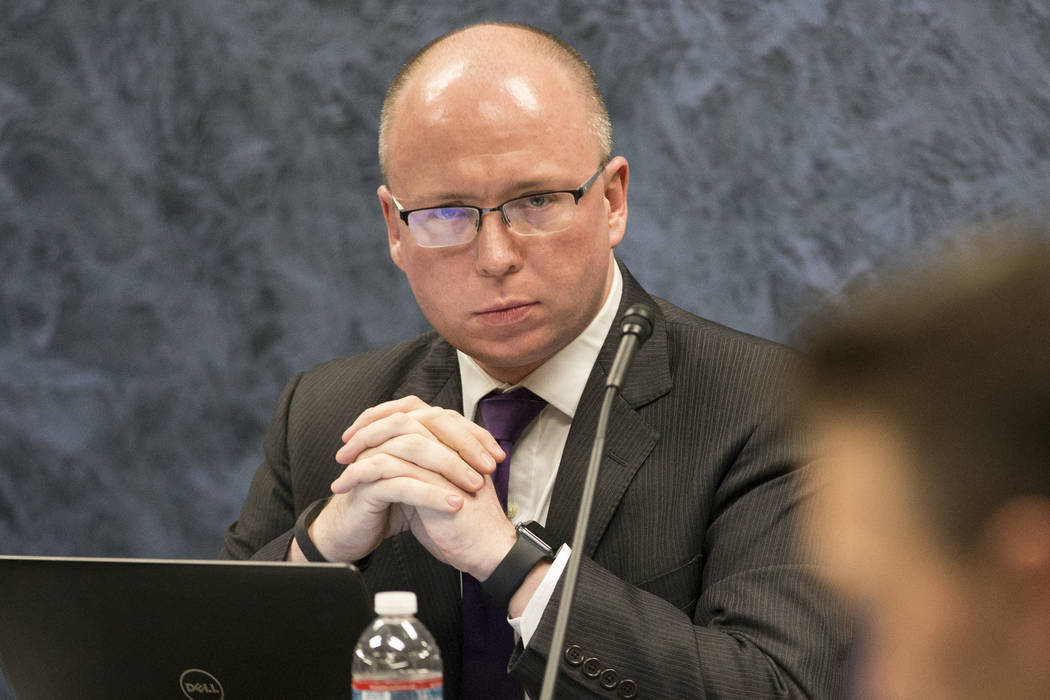 Patrick Gavin, executive director of the Nevada State Public Charter School Authority, is seen during a board meeting at the Grant Sawyer State Office Building in Las Vegas on Friday, Jan. 26, 201 ...