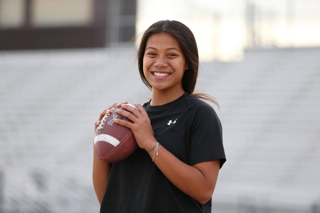 Bonanza's flag football quarterback Cindylou Rasiang, 15, at Bonanza High School in Las Vegas, Tuesday, Nov. 27, 2018. Erik Verduzco Las Vegas Review-Journal @Erik_Verduzco