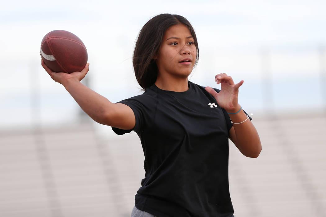 Bonanza's flag football quarterback Cindylou Rasiang, 15, throws a pass during a workout at Bonanza High School in Las Vegas, Tuesday, Nov. 27, 2018. Erik Verduzco Las Vegas Review-Journal @Erik_V ...