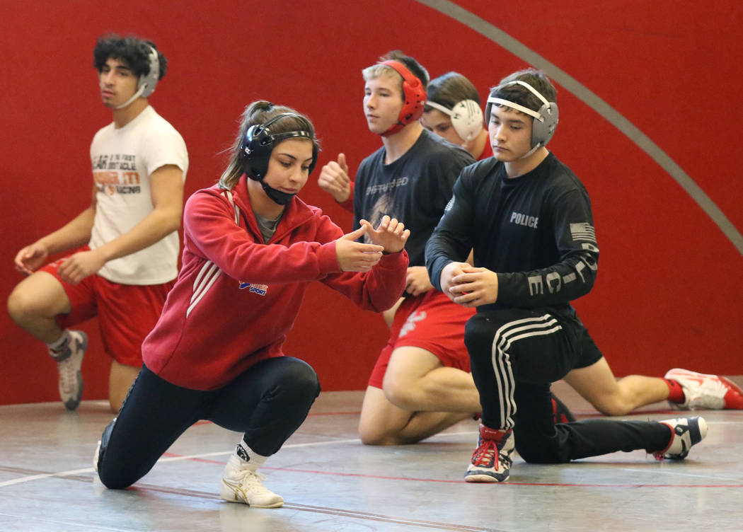 Arbor View's High wrestler Peyton Prussin, center, leads wrestlers in a stretching session during their practice on Tuesday, Nov. 20, 2018, in Las Vegas. Bizuayehu Tesfaye/Las Vegas Review-Journal ...