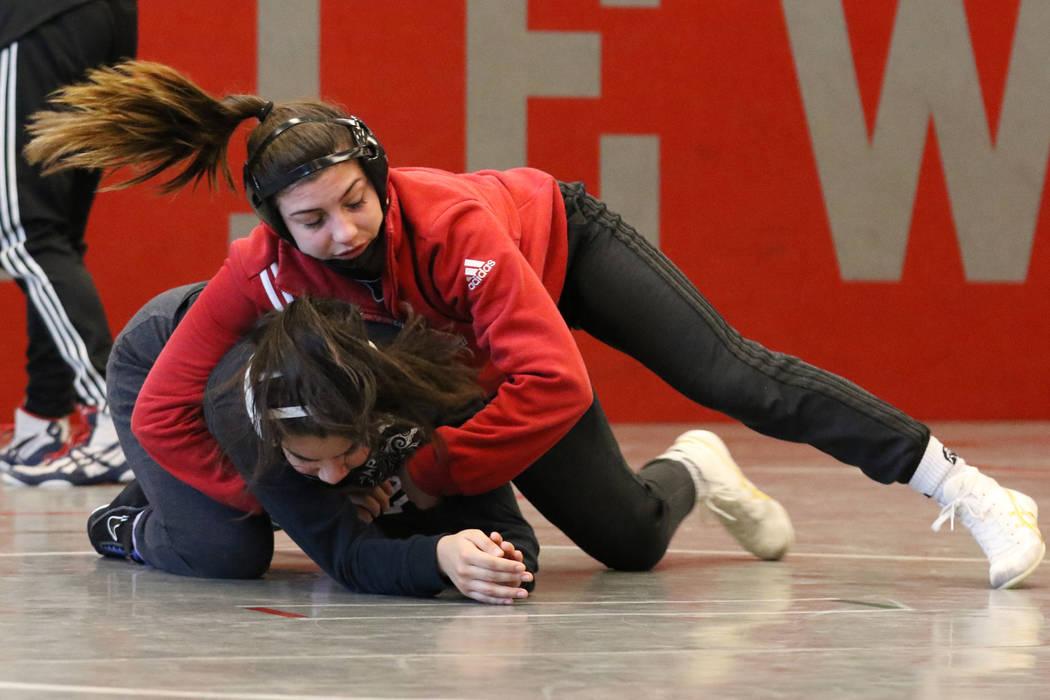 Arbor View's High School wrestler Peyton Prussin, right, wrestles Isabela Luna during their practice on Tuesday, Nov. 20, 2018, in Las Vegas. Bizuayehu Tesfaye/Las Vegas Review-Journal @bizutesfaye