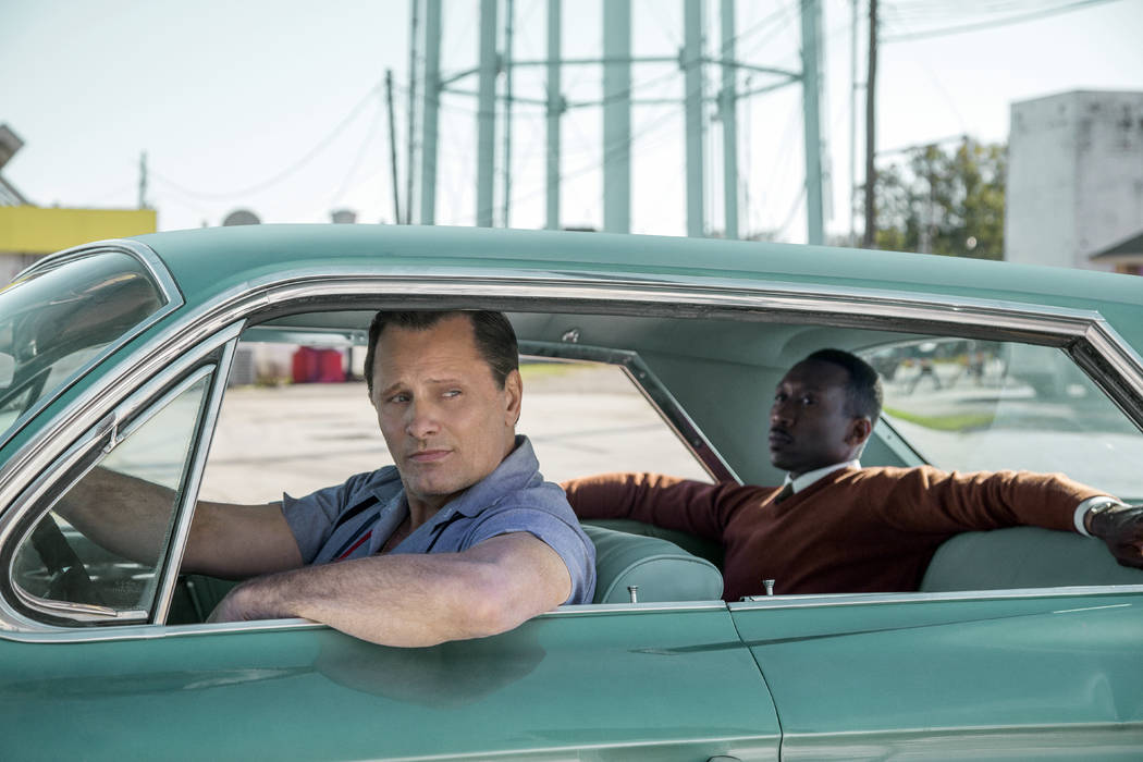 "This image released by Universal Pictures shows Viggo Mortensen, left, and Mahershala Ali in a scene from ""Green Book."" The National Board of Review announced their 2018 honorees, Tuesda ..."