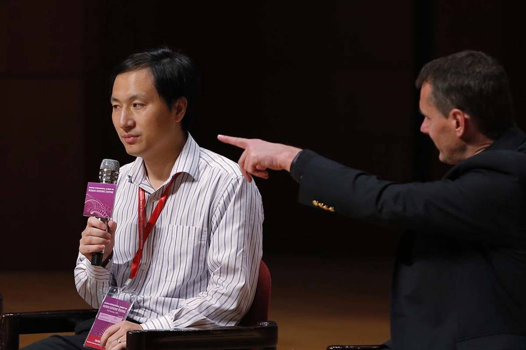 He Jiankui, a Chinese researcher, speaks during the Human Genome Editing Conference in Hong Kong, Wednesday, Nov. 28, 2018. He made his first public comments about his claim to have helped make th ...