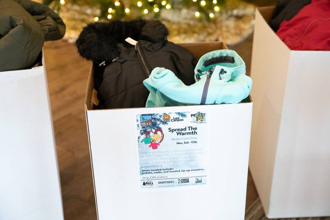 More than 300 coats, jackets and hooded sweaters were collected during Lee Canyon's Spread the Warmth coat drive. (Skye Canyon)