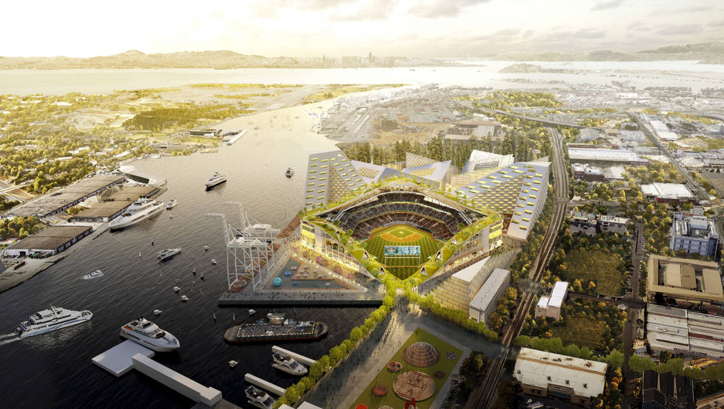 This rendering released Wednesday, Nov. 28, 2018, by the Oakland Athletics shows an elevated view of the baseball club's proposed new at Howard Terminal in Oakland, Calif. (Courtesy of BIG - Bjark ...