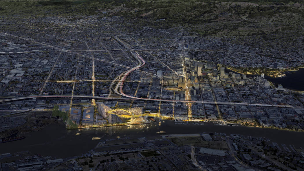 This rendering released Wednesday, Nov. 28, 2018, by the Oakland Athletics shows an elevated night time view of the baseball club's proposed new ballpark at Howard Terminal in Oakland, Calif. (Cou ...