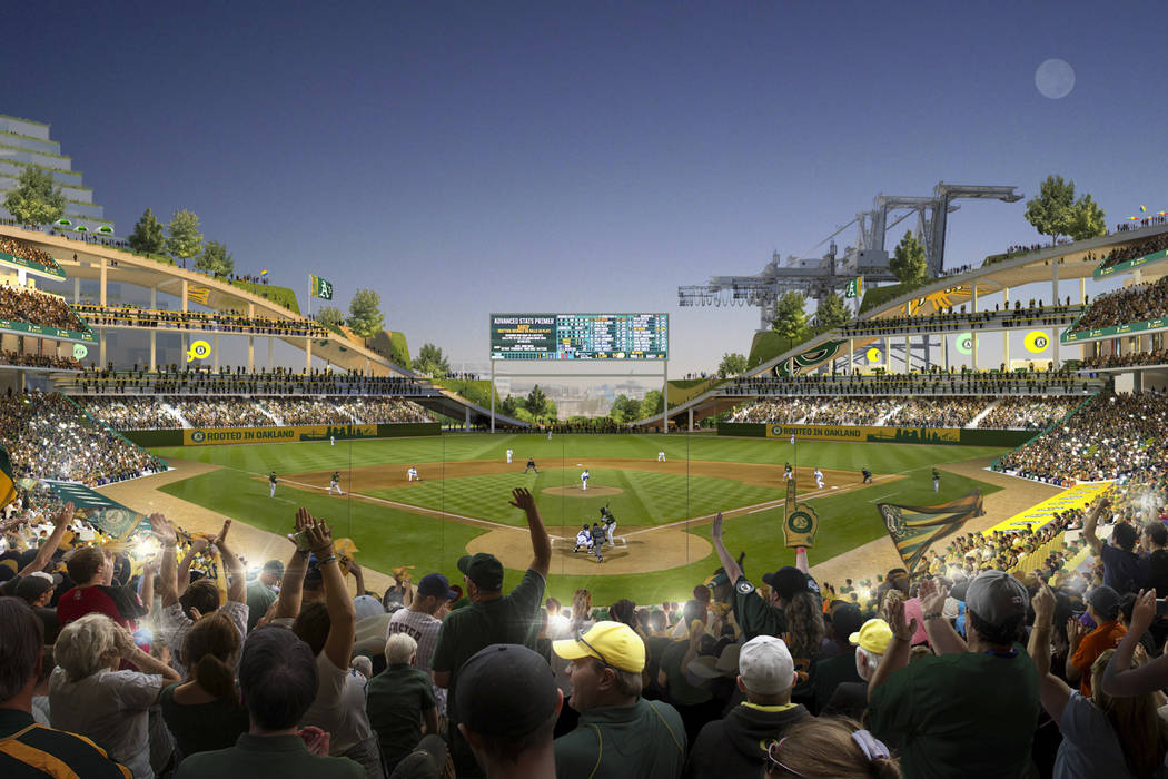 This rendering released Wednesday, Nov. 28, 2018, by the Oakland Athletics shows an interior view of the baseball club's proposed new ballpark at Howard Terminal in Oakland, Calif. (Courtesy of BI ...