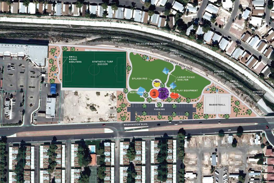 The seven-acre, $5.1 million Washington Las Vegas Wash Park is scheduled to break ground Dec. 12, city officials say. (City of Las Vegas)