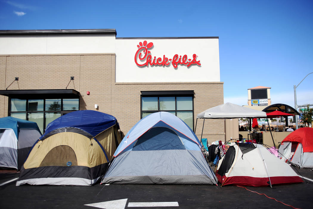Tents pitched outside the new Chick-fil-A on Rainbow Blvd. in Las Vegas, Wednesday, Nov. 28, 2018. Dozens of people camped out 24 hours before the official opening of 6 a.m. Thursday. The first 10 ...
