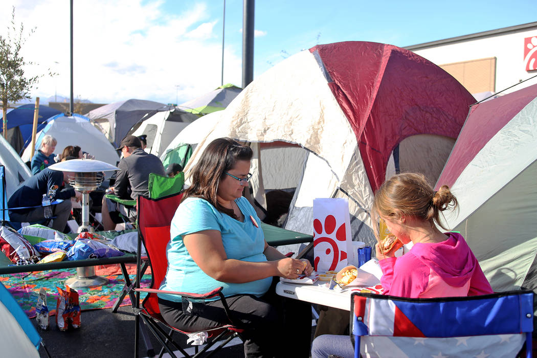 Jessica Zwigac has a free lunch with her daughter Natalie Zwigac, 10, at their tent at the new Chick-fil-A on Rainbow Blvd. in Las Vegas, Wednesday, Nov. 28, 2018. Rachel Aston Las Vegas Review-Jo ...