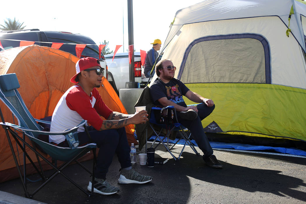 Ed Reyes hangs out with his friend Tyler Wogalter at their campsite at the new Chick-fil-A on Rainbow Blvd. in Las Vegas, Wednesday, Nov. 28, 2018. Rachel Aston Las Vegas Review-Journal @rookie__rae