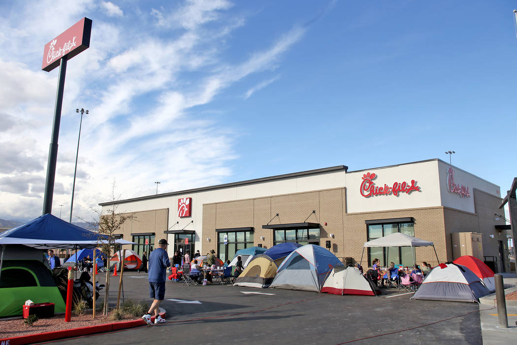 Tents pitched outside the new Chick-fil-A on Rainbow Blvd. in Las Vegas, Wednesday, Nov. 28, 2018. Dozens of people camped out 24 hours before the official opening of 6 a.m. Thursday. Rachel Aston ...
