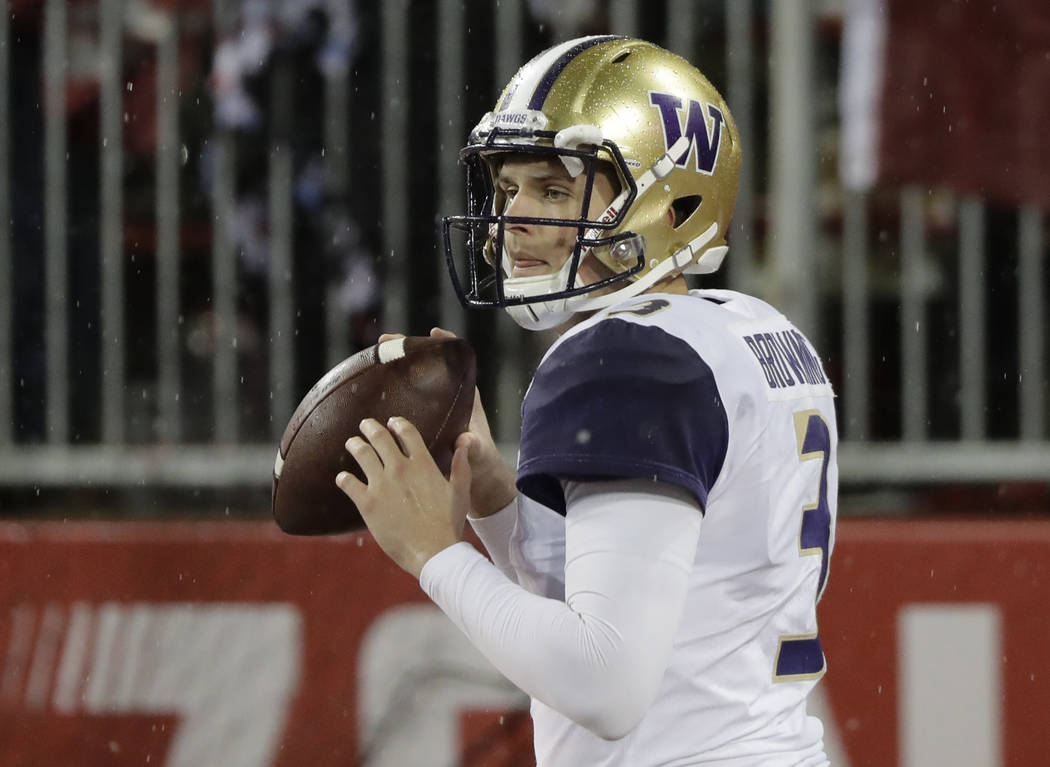 Washington quarterback Jake Browning throws during warmups before an NCAA college football game against Washington State, Friday, Nov. 23, 2018, in Pullman, Wash. (AP Photo/Ted S. Warren)