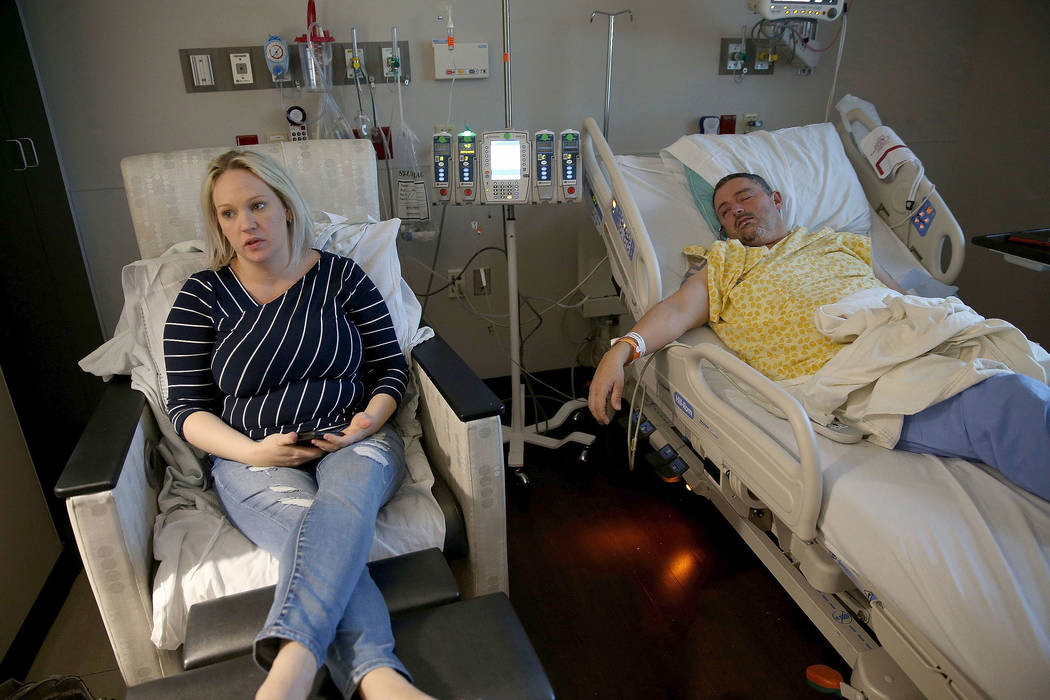 Shane Morgan and his wife Monique Morgan talk to a reporter in their room at Centennial Hills Hospital in Las Vegas Wednesday, Nov. 28, 2018. K.M. Cannon Las Vegas Review-Journal @KMCannonPhoto