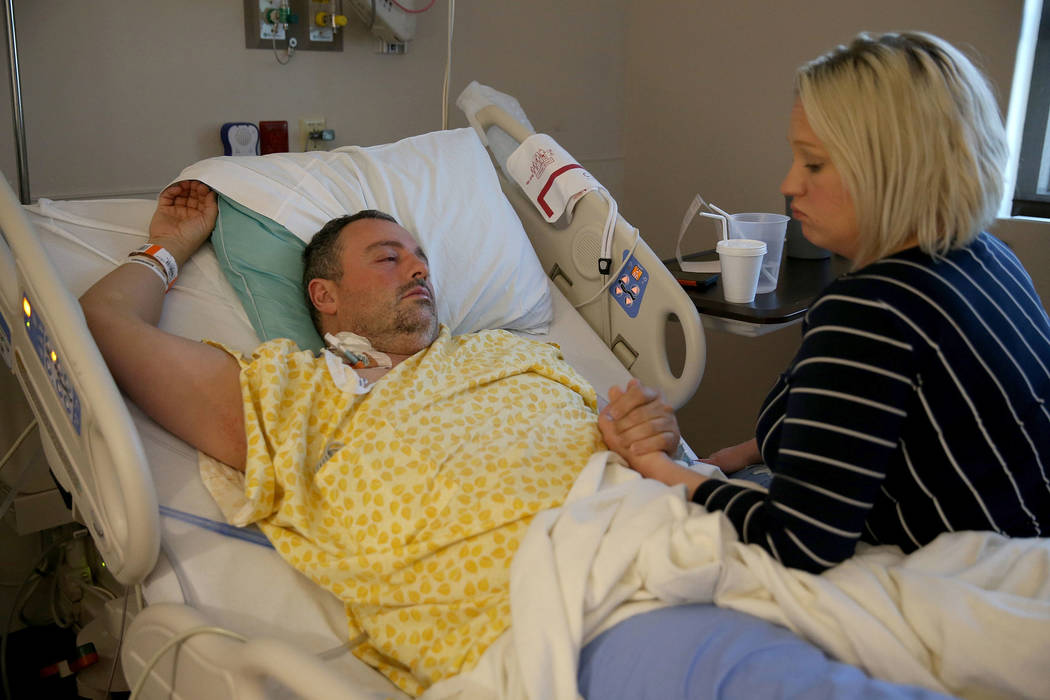 Shane Morgan and his wife Monique Morgan in their room at Centennial Hills Hospital in Las Vegas Wednesday, Nov. 28, 2018. K.M. Cannon Las Vegas Review-Journal @KMCannonPhoto