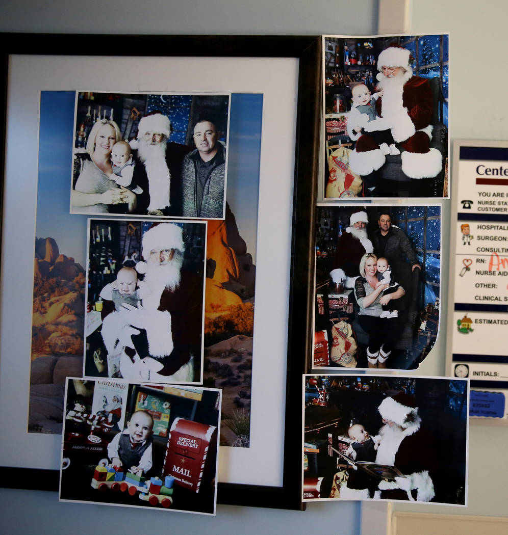 Family photos in Shane Morgan's room at Centennial Hills Hospital in Las Vegas Wednesday, Nov. 28, 2018. K.M. Cannon Las Vegas Review-Journal @KMCannonPhoto