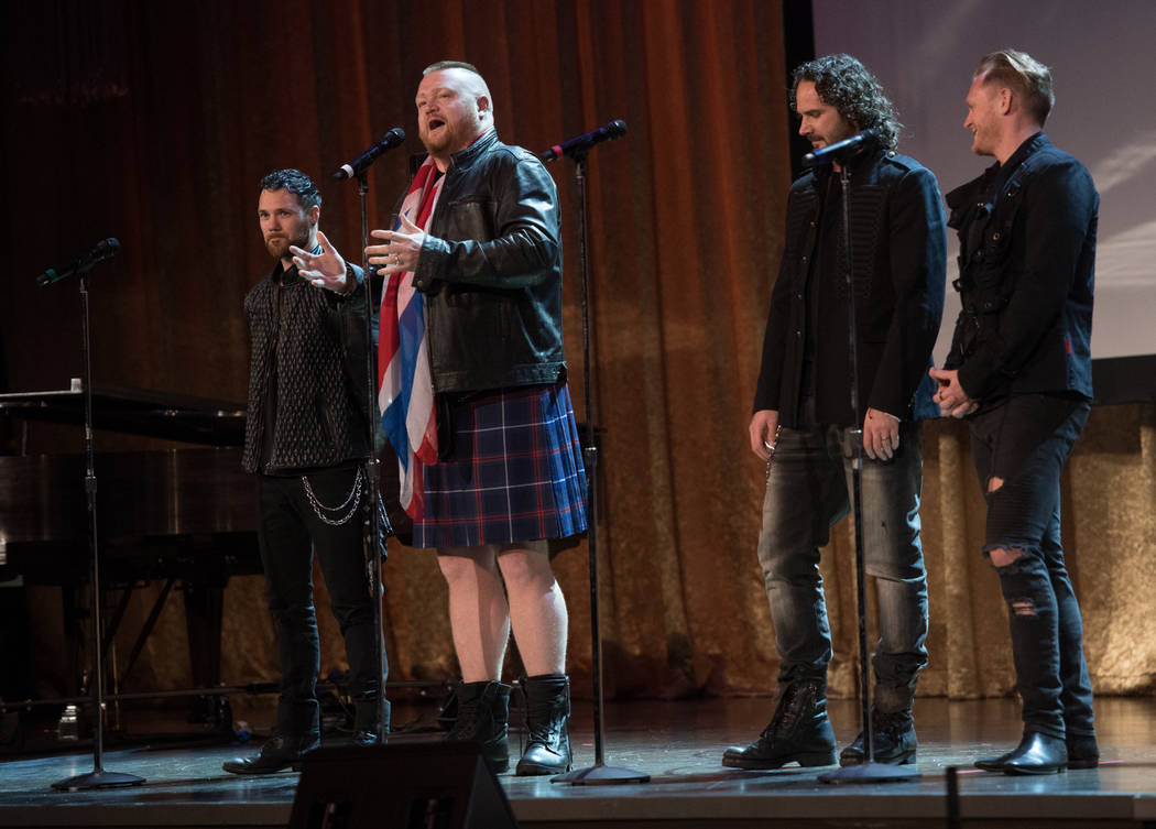 Members of Tenors of Rock of Harrah's Showroom are shown onstage during Robin Leach's celebration of life at Palazzo Theater on Friday, Sept. 28, 2018. (Tom Donoghue)