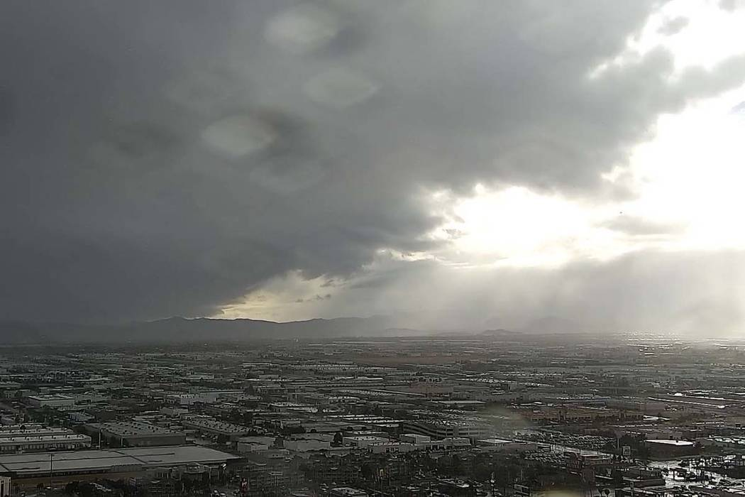 Rain falls on the southwest Las Vegas Valley on Thursday in this image from the Raiders stadium cam on reviewjournal.com. (Las Vegas Review-Journal)