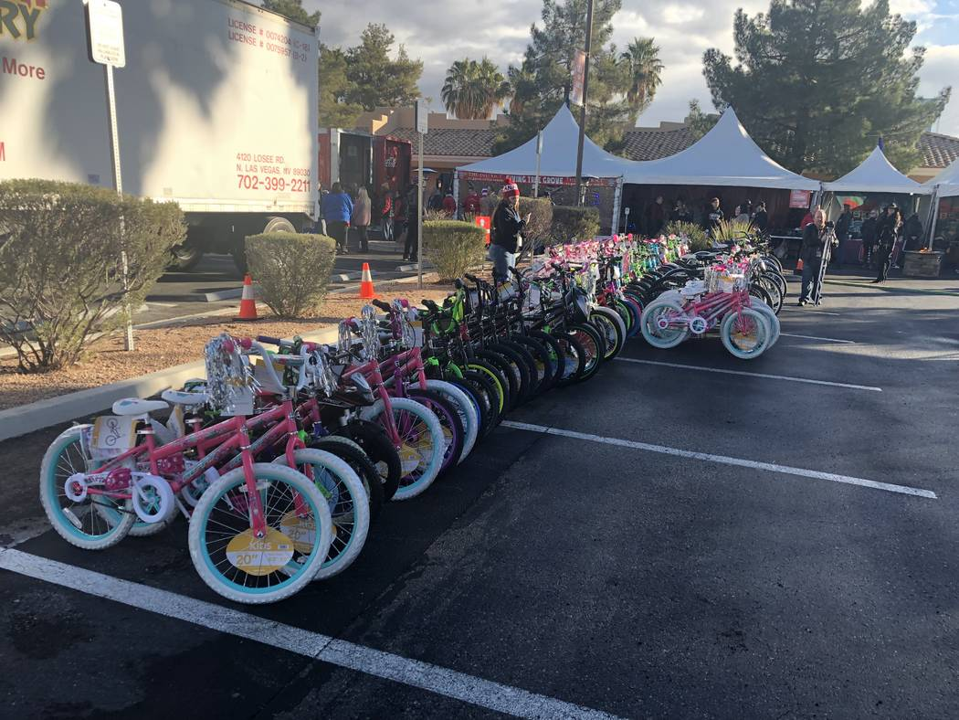 A lineup of bicycles is shown at the 20th annual KLUC Toy Drive at NV Energy's headquarters on West Sahara Avenue. (John Katsilometes/Las Vegas Review-Journal) @JohnnyKats