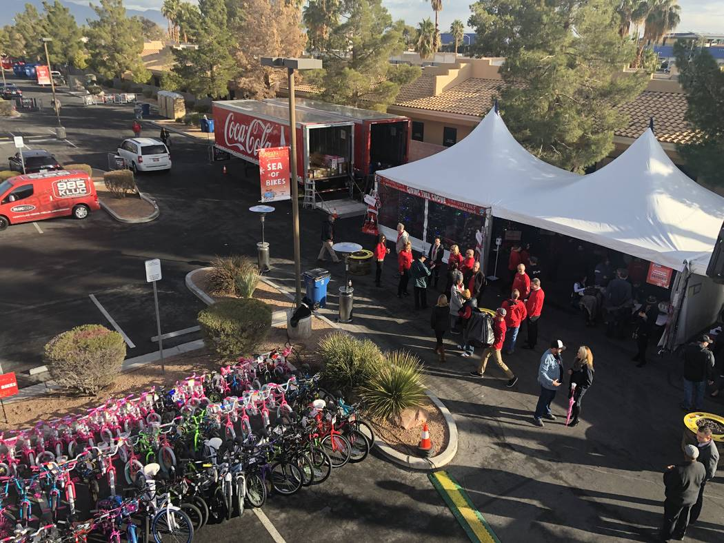 A look at the the 20th annual KLUC Toy Drive from Chet Buchanan's temporary home 30 feet above the street at NV Energy's headquarters on West Sahara Avenue. (John Katsilometes/Las Vegas Review-Jou ...