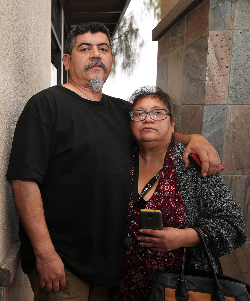 Joanne Enriquez and her partner Pas Martinez in Las Vegas, Thursday, Nov. 29, 2018. Joanne's sister-in-law Kelly Kazoon was strangled and beaten to death on Saturday, Nov. 24, 2018. Erik Verduzco/ ...